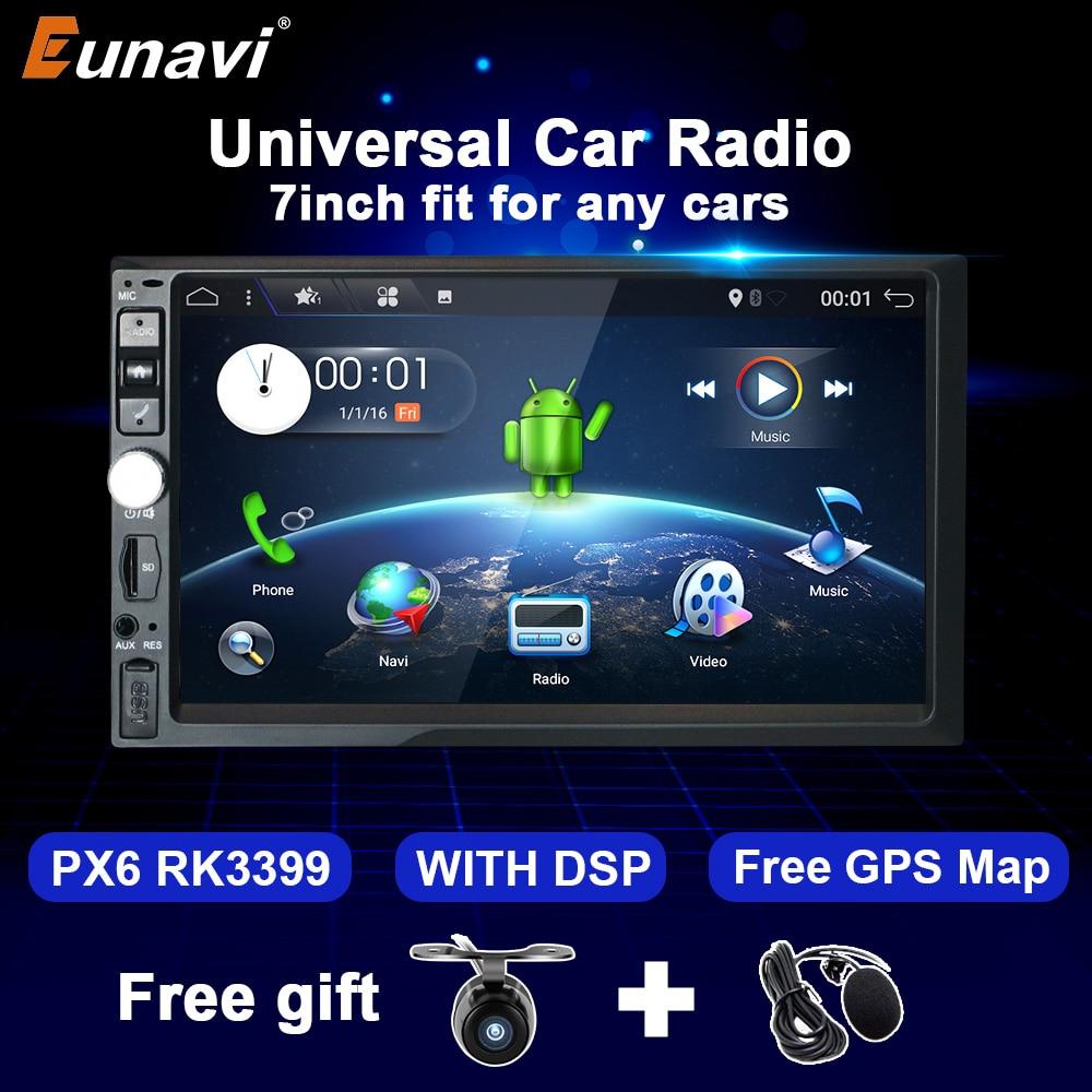 Автомагнитола Eunavi, 2 Din, 7 дюймов, Android 10, 4 + 64 ГБ, GPS, Wi-Fi