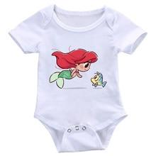 Dermspe bebê recém-nascido meninos e meninas de manga curta macacão sereia e adorável peixe imprimir criança terno de uma peça