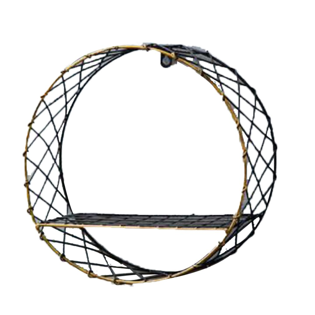 Industrial Wind Wall Rack Home Multi-Layer Solid Wood Bookshelf Round Big Net Wall Hanging Retro Wrought Iron Wall Decoration