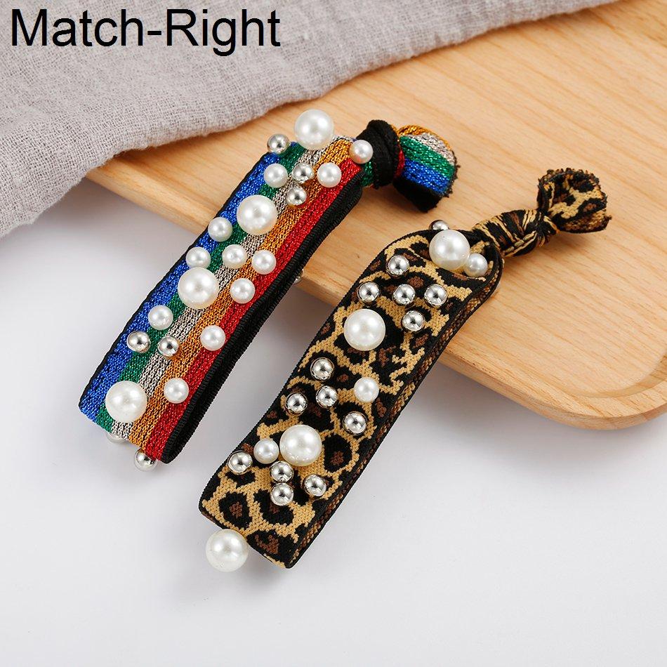 Match-Right Headbands Head-Accessories Pearl Elastic Korean Women for Leopard Stripe