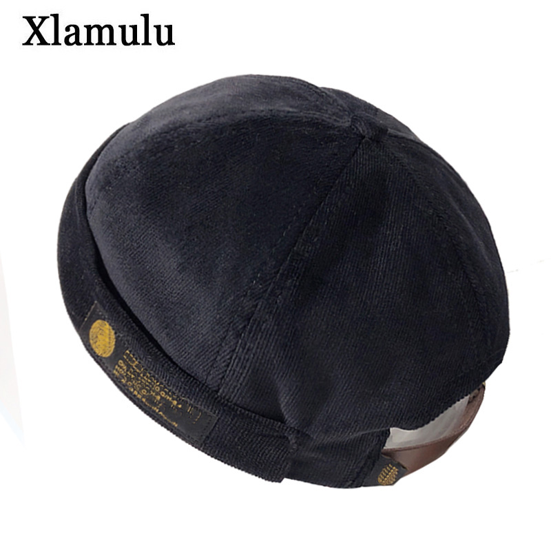 Winter Men Street Casual Docker Cap Sailor Biker Hat Women Skull Beanie Brimless Cap Unisex Pumpkin Black Beanies Male Hat Caps