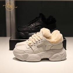 RY-RELAA vrouwen sneakers 2018 mode Echt Lederen casual schoenen vrouwen INS stijl Bont sneakers womens schoenen witte sneakers
