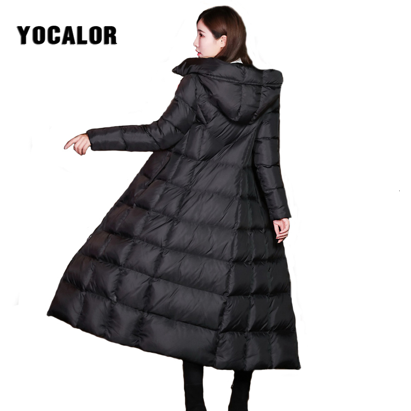 YOCALOR Winter Womens Down Coat Jackets Brands For Girl Women Jacket Goose Feather Long Thick Female Outerwear White Duck Parka