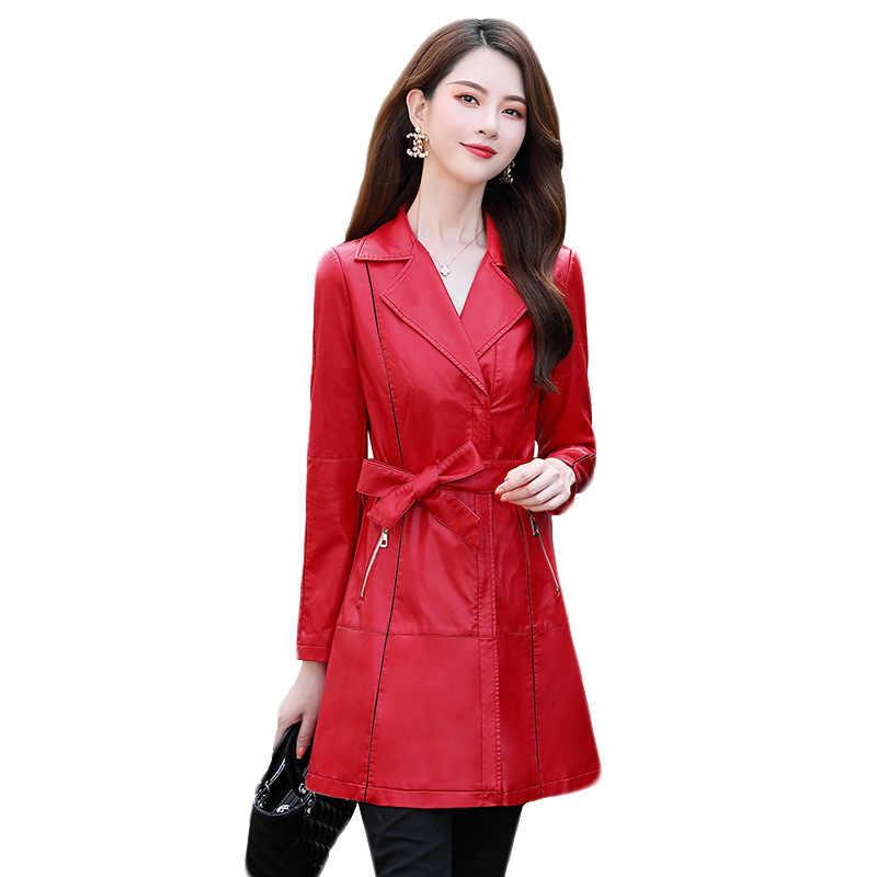 여성 긴 2020 정품 가죽 자켓 한국어 봄 가을 200% 양피 코트 Chaqueta Cuero Hombre Pph484