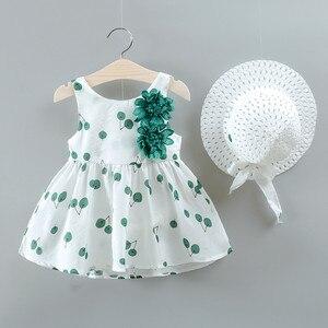 Summer Fashion Newborn Toddler Baby Girls Dresses Princess Party Flowers Dot Sleeveless Cotton Dresses Sun Hats and Top Set 2020
