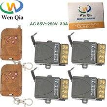 גבוהה כוח 433MHz האלחוטי אוניברסלי AC 110V 220V 30amp 6600W 1CH 4 כנופיות rf ממסר ומשדר עבור משאבת \ LED