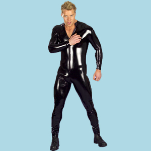 Image 5 - Mens Sexy Wet Look Fetish Latex DS Nightclub Catsuits Costumes Cosplay Body Suit Black Patent PU Leather Erotic Leotard Overall