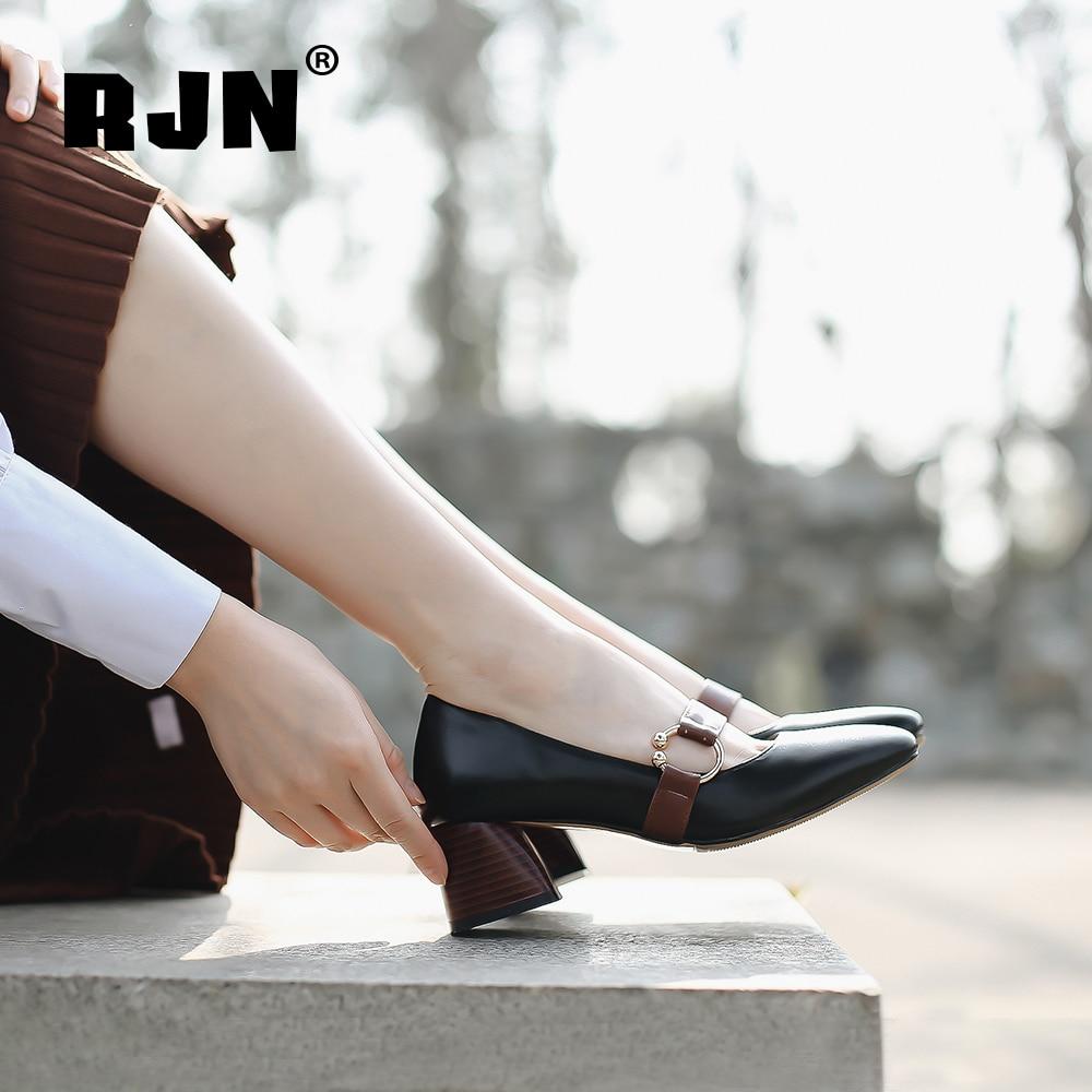 Buy RJN Elegant Square Toe Pumps Matel Decoration Square Wood Grain Heel Shallow Well Shoes Genuine Leather Slip-On Women Pumps RO15