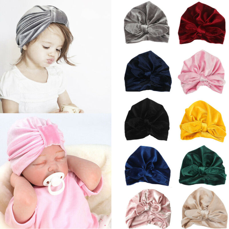 Toddler Kids Boy Girl Winter Caps Baby Knotted Hat Indian Turban Velvet Soft