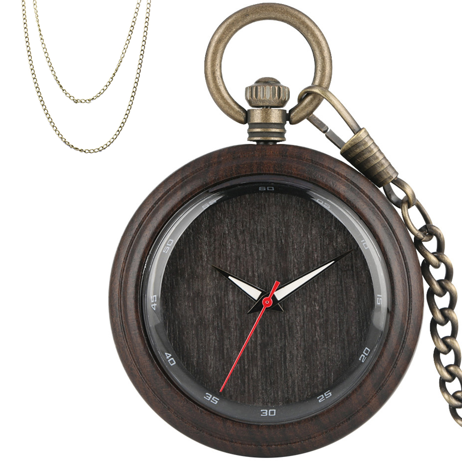 Luxury Pure Wooden Quartz Pendant Pocket Watch Simple Black Analog Display Necklace Hanging Clock Retro Bronze Fob Chains