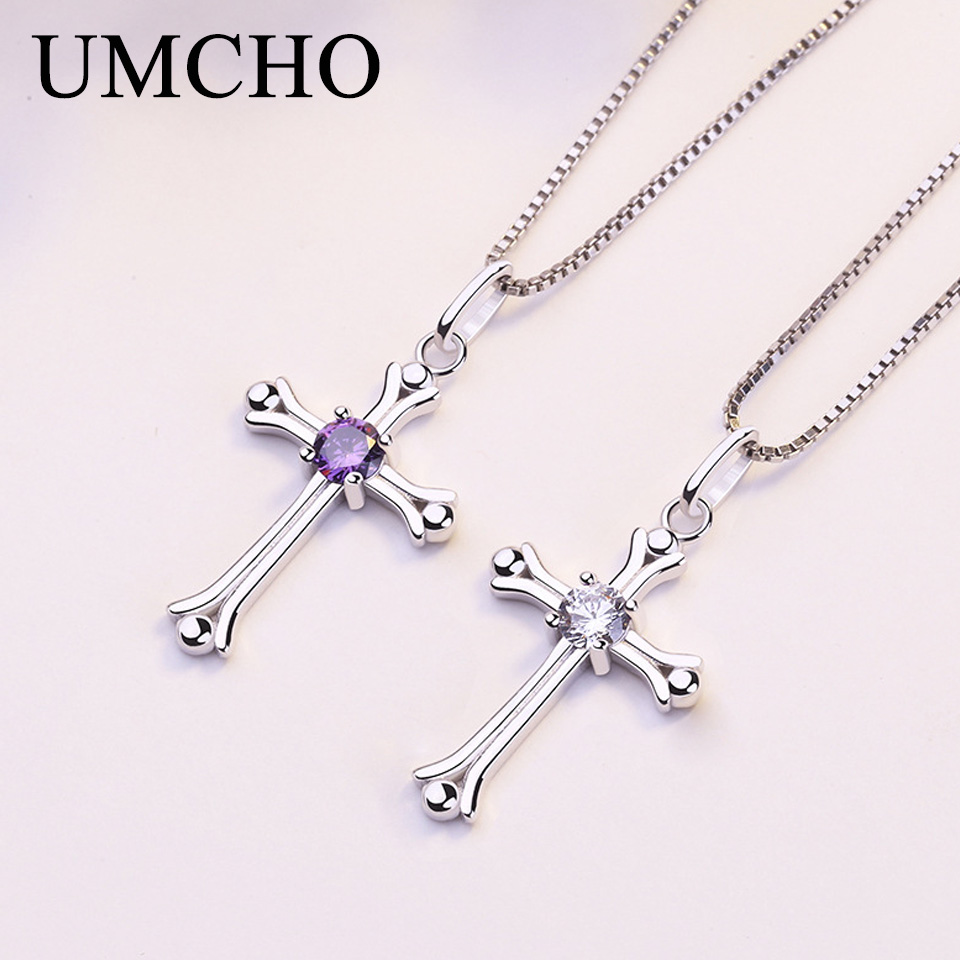 UMCHO Cross 925 Sterling Silver Necklaces Pendants Party Charm For Women Engagement S925 Gifts Fine Jewelry Without Chain Necklaces    - AliExpress