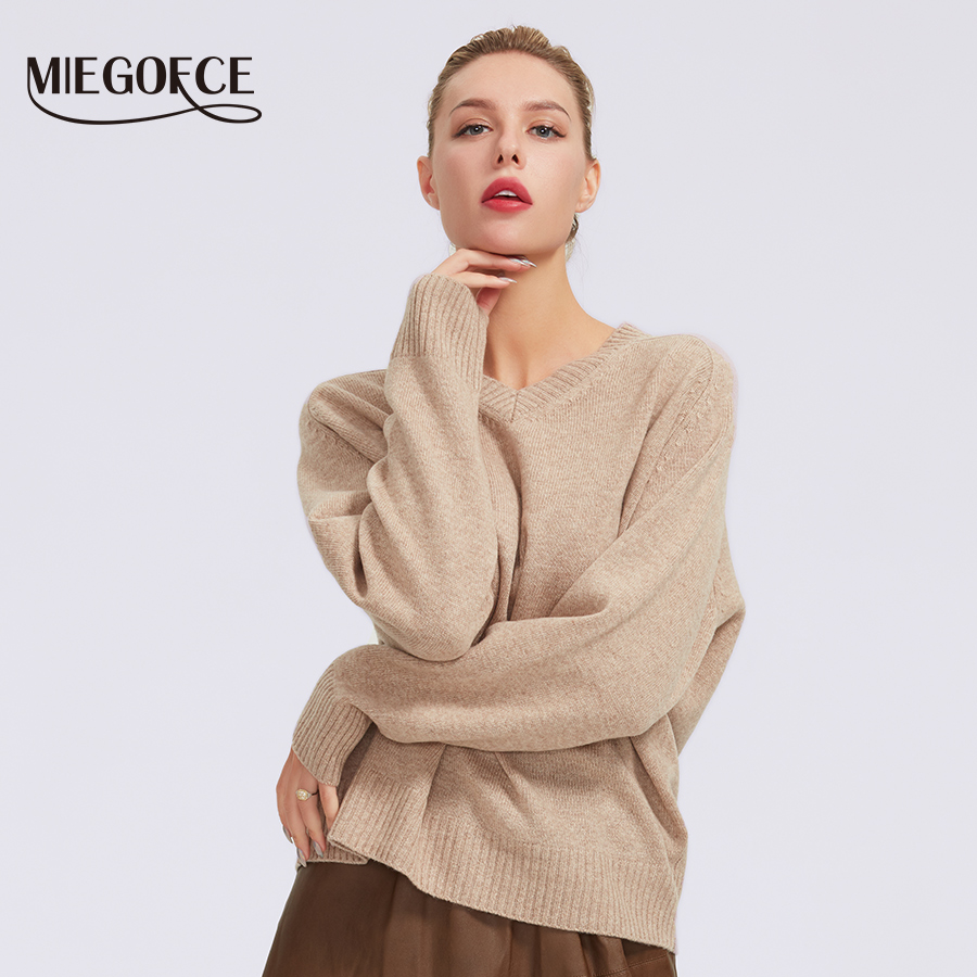 MIEGOFCE 2019 Sweaters Womens Pure Cashmere Jumper Size Solid Loose Sweater Ladies Jumper Pullover For Women