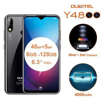 Перейти на Алиэкспресс и купить Мобильный телефон OUKITEL Y4800, Android 9,0, 6,3-дюймовый экран 19,5: 9 FHD, Восьмиядерный, сканер лица, 6 ГБ ОЗУ 128 Гб ПЗУ, сканер отпечатка пальца, 4000 мАч, 9 В/2 А