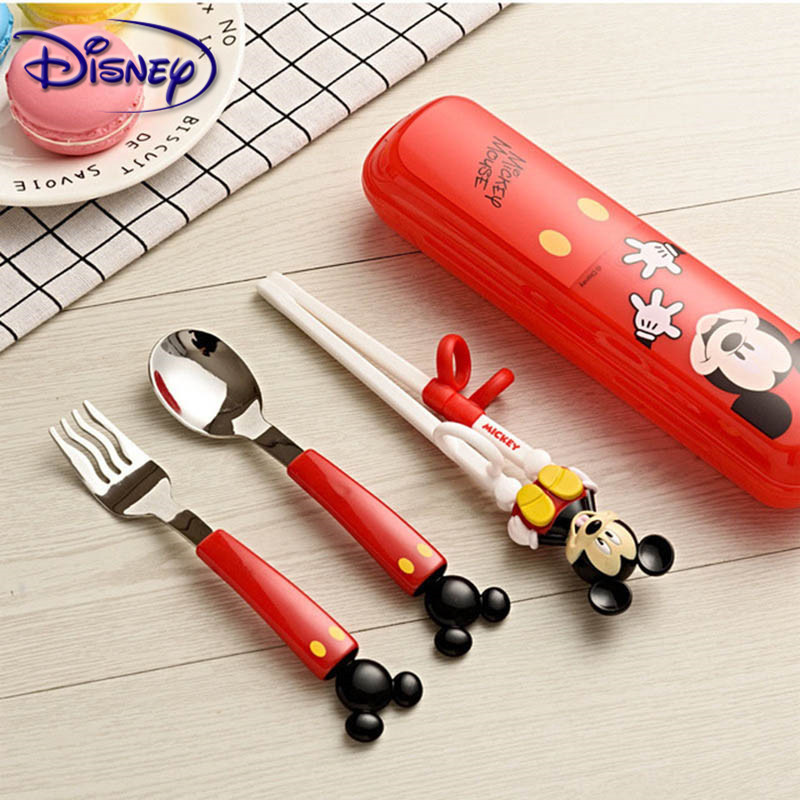 Disney Children's Chopsticks Training Chopsticks Baby Learning Practice Chopsticks Baby Auxiliary Spoon Fork Cutlery Set