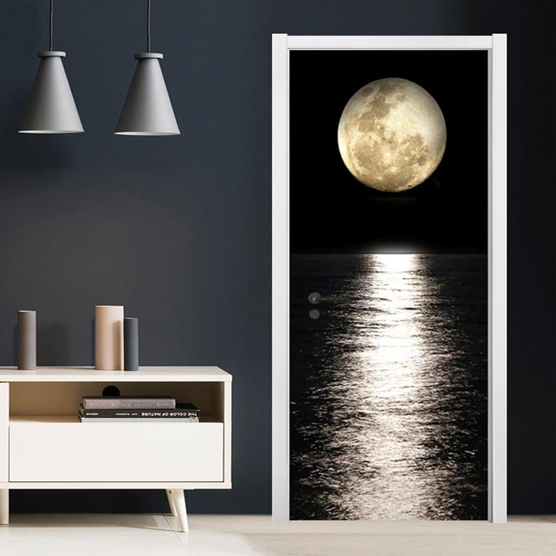 PVC Door Sticker 3D Night Moon Sea Level View Door Decoration Living Room Dining Room Vinyl Door Murals Wallpaper 3D Door Poster