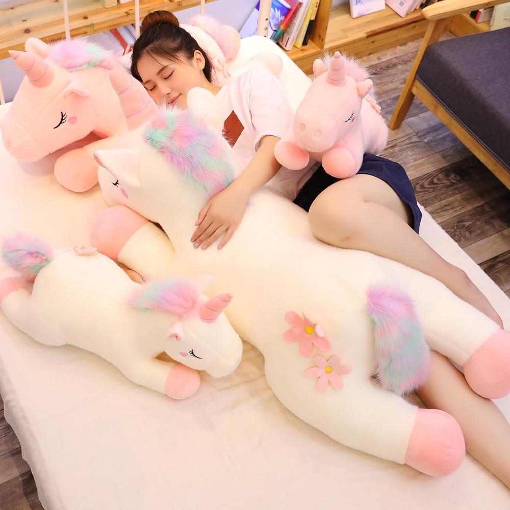 25-100CM 3 Styles Huge Kawaii Unicorn Plush Toys Stuffed Animal Unicornio Horse Doll Soft Cute Children Home Decor Gifts Pillow