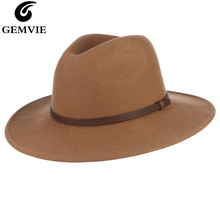 GEMVIE New Unisex Vintage Wide Flat Brim 100% Wool Hat Fedora Felt Hat For Women Man Leather Bands Warm Winter Panama Jazz Cap цена