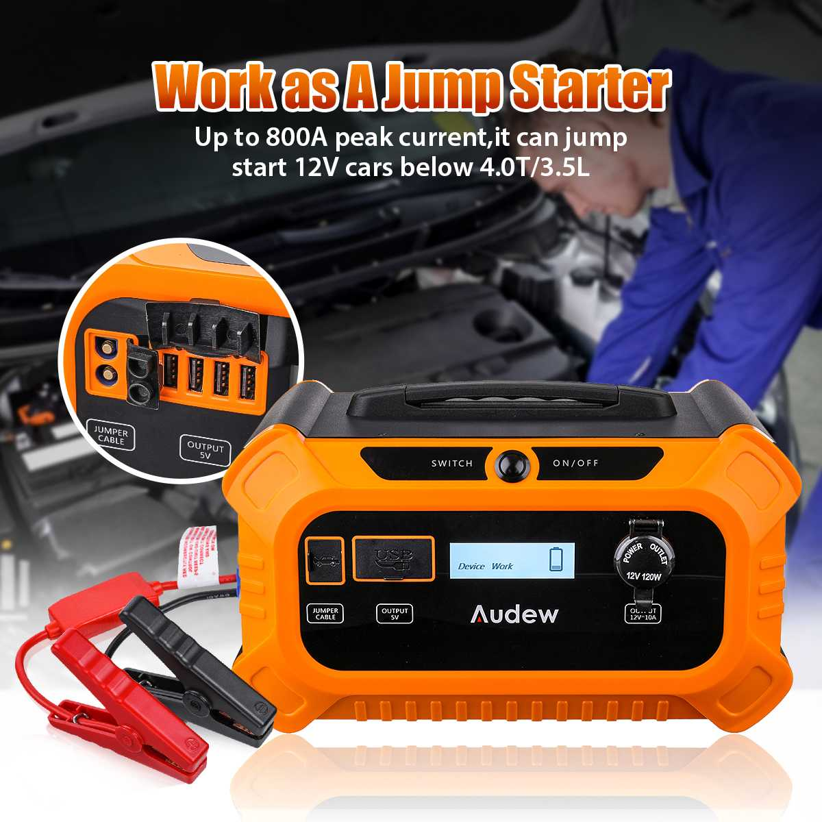 Audew Portable Solar Generator Power Supply Connector Energy Storage Power Station Voltage 12V <font><b>1000A</b></font> <font><b>Car</b></font> <font><b>Jump</b></font> <font><b>Starter</b></font> 156250mAh image