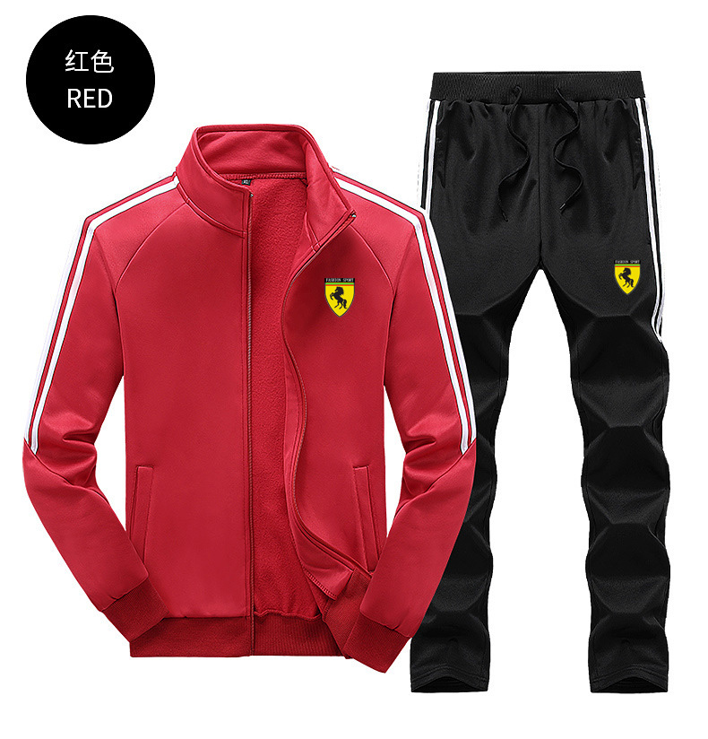 Men Casual Zipper Zip Strips Gym Walk Jogging Sport Tracksuit Coat Jacket Trousers Pants Suit Spring Fall Outfit 2PC Floral