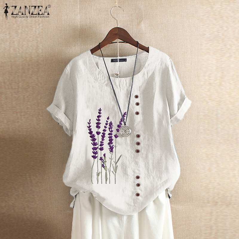 Vintage Cotton Linen Blouse 2021 ZANZEA Summer Embroidery Tunic Tops Women Casual O Neck Short Sleeve Work Shirts Female Blusas