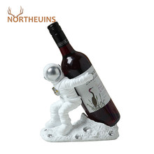 NORTHEUINS Resin Astronaut Wine Rack Figurines Modern Cosmonaut Statue Home Decor on the Shelf Living Room Interior Decoration(China)