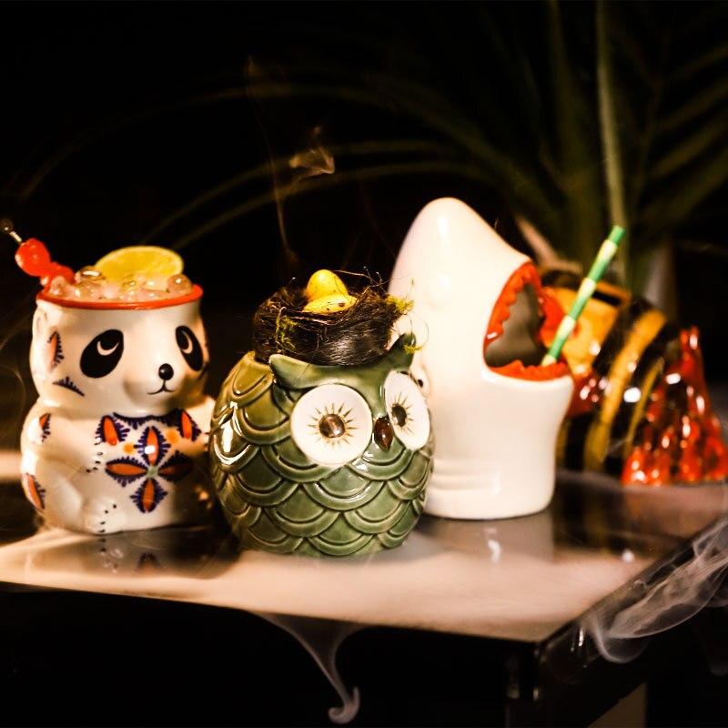 Tiki Mugs Personality Hawaiian Cocktail Cup Creative mugs Ceramic Tiki Mug Creative Porcelain Beer Wine Mug Cup Bar Tool