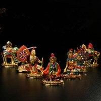 Tibetan Suppliers Alloy Metal Tantric Colored Plated 7pcs/Set Seven Treasured Symbol Sets ,Auspicious Putting Decorations