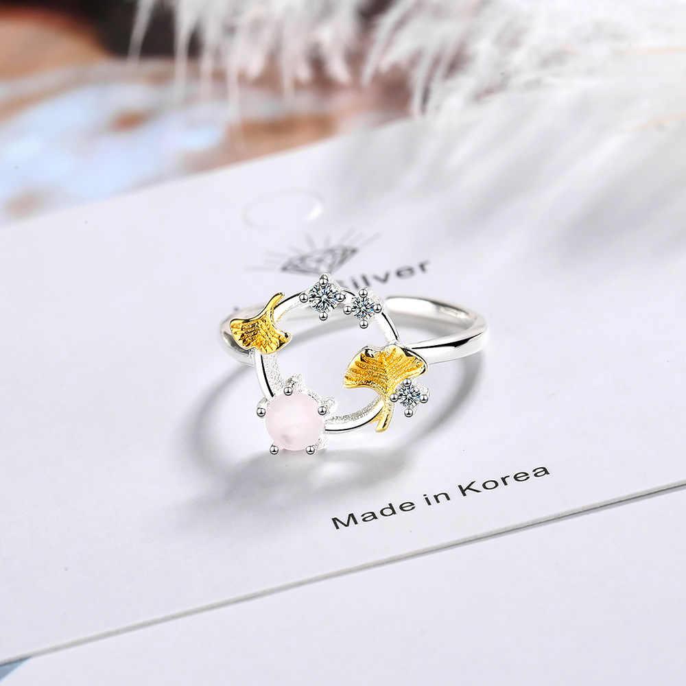 ใหม่ล่าสุด Leaf ดอกไม้งานหมั้นหรืองานแต่งงานแหวนสีชมพู Morganite ครบรอบปรับ 925 เงินสเตอร์ลิงเครื่องประดับ Fine