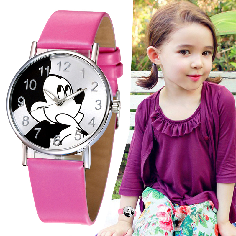 Girls Watches Kids Mickey Mouse Fashion Simple Watch Movement Quartz Disc Watch PU Leather Strap Cute Head Buckle Ladies Watch
