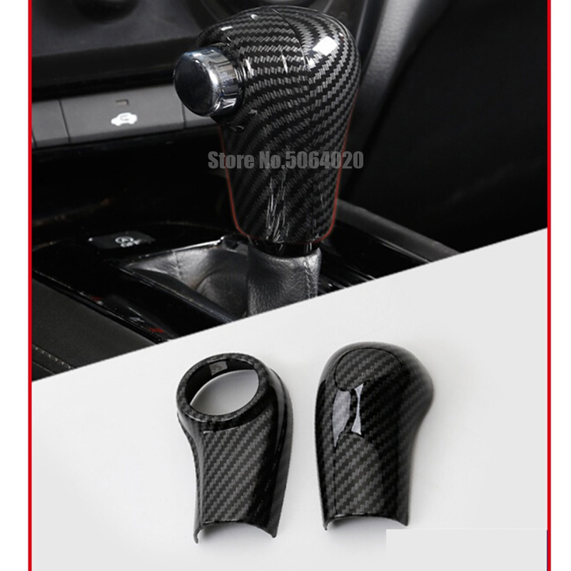 Pour Honda HRV HR-V Vezel 2014-2019 accessoires ABS mat/fibre de carbone voiture levier de vitesse bouton poignée couvercle garniture autocollant 2 pièces