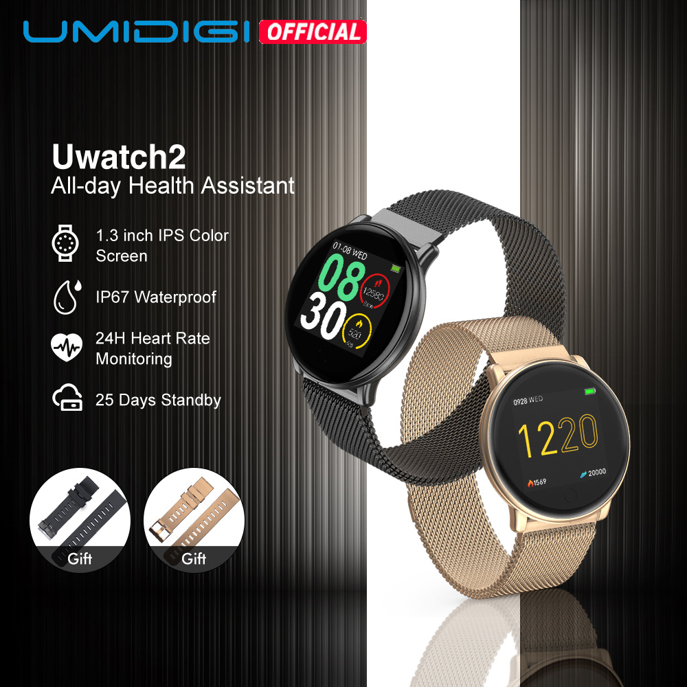 UMIDIGI Uwatch2 Smart Watch For AndriodIOS 1 33  Full Touch Screen IP67 25 days Standby 7 Sport Modes Full Metal Unibody reloj