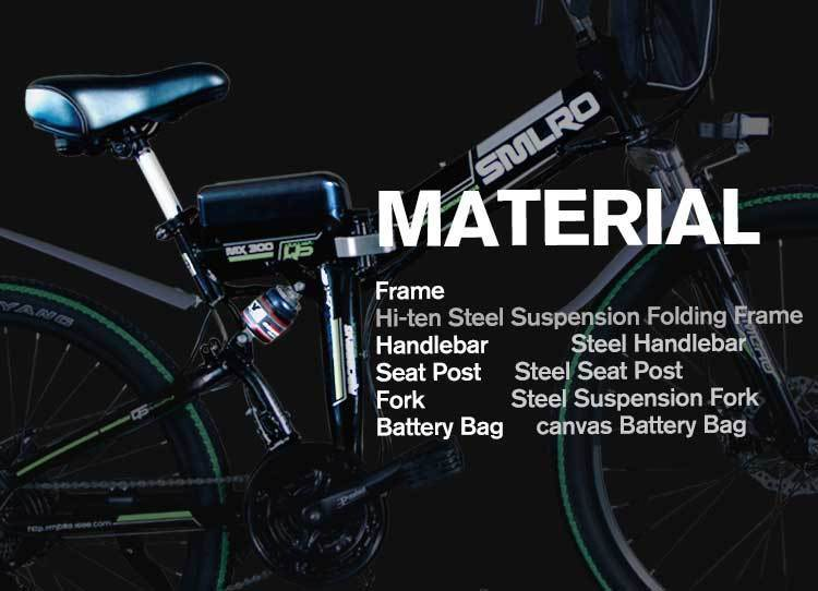 MX300 SMLRO 21 speed high quality electric bike/electric bicycle Carbon Steel 350W 48V e bike 5