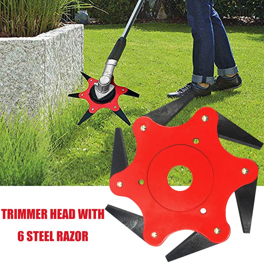 6 Steel Blades Razors Brush Cutter Blade Trimmer 65Mn Trimmer Head Garden Grass Trimmer Head Easy Cutting Garden Power Tools