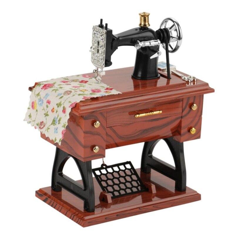 Music Box Mini Vintage Sewing Machine Style Birthday Gift Table Desk Decor Wood