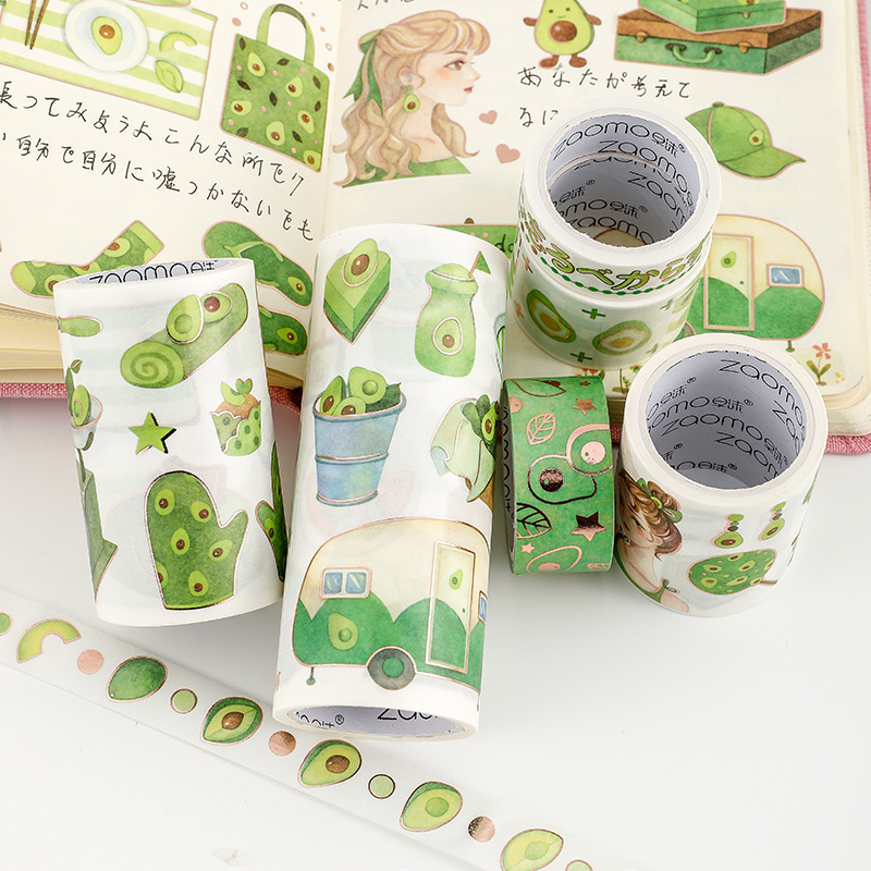Avocado Girls Series Collage Washi Tape Adhesive Tape DIY Scrapbooking Sticker Label Masking Craft Tape