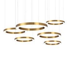 حلقة تصميم الحديثة LED مصباح نجف الفولاذ المقاوم للصدأ نجفة ذهبية المعيشة الإضاءة وأضواء المشاريع