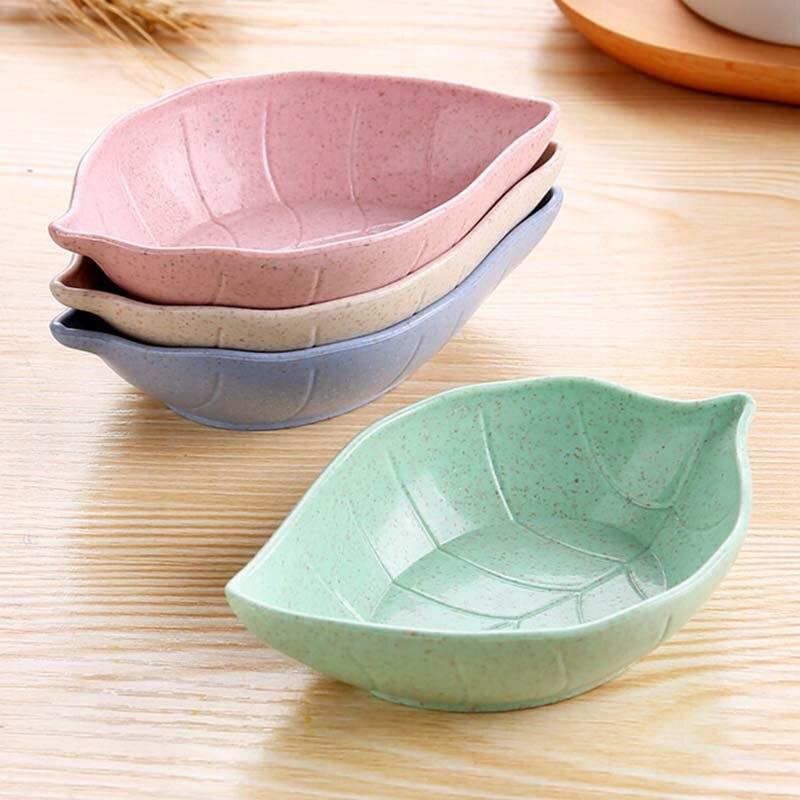 Creativo plato de hojas tazón de bebé chico paja de trigo plato para salsa de soja cuenco de arroz plato Sub-plato japonés vajilla contenedor de alimentos