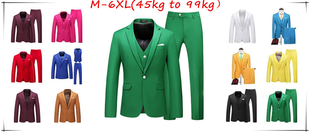 Wedding Suits For Men Slim Fit Men's Business Casual Groom Suits Formal Burgundy Green Purple Yellow Red White Man Suit 5XL 6XL