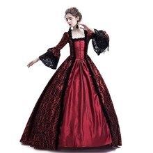Ренессанс для женщин Винтаж кружево оборками платье Готический стиль дамы Лолита платья Элегантный с длинным рукавом чай вечерние Косплей Халат