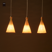 Delicate Single Bamboo Wicker Rattan Taper Pendant Light Fixture Woven Rural Country Vintage Hanging Ceiling Lamp Farmhouse Room