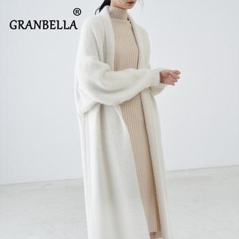 luxury long faux mink fur cardigans For Women New 2021 spring winter women's Sweaters oversize female Pull 1