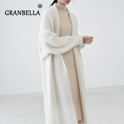 high quality cardigan fake mink cashmere wool jacket oversize Fashion Long Sweaters Autumn Warm Women Coats abrigo mujer