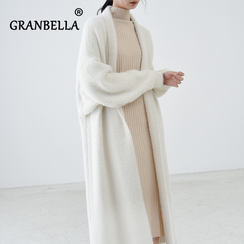 luxury long faux mink fur cardigans For Women New 2021 spring winter women's Sweaters oversize female Pull