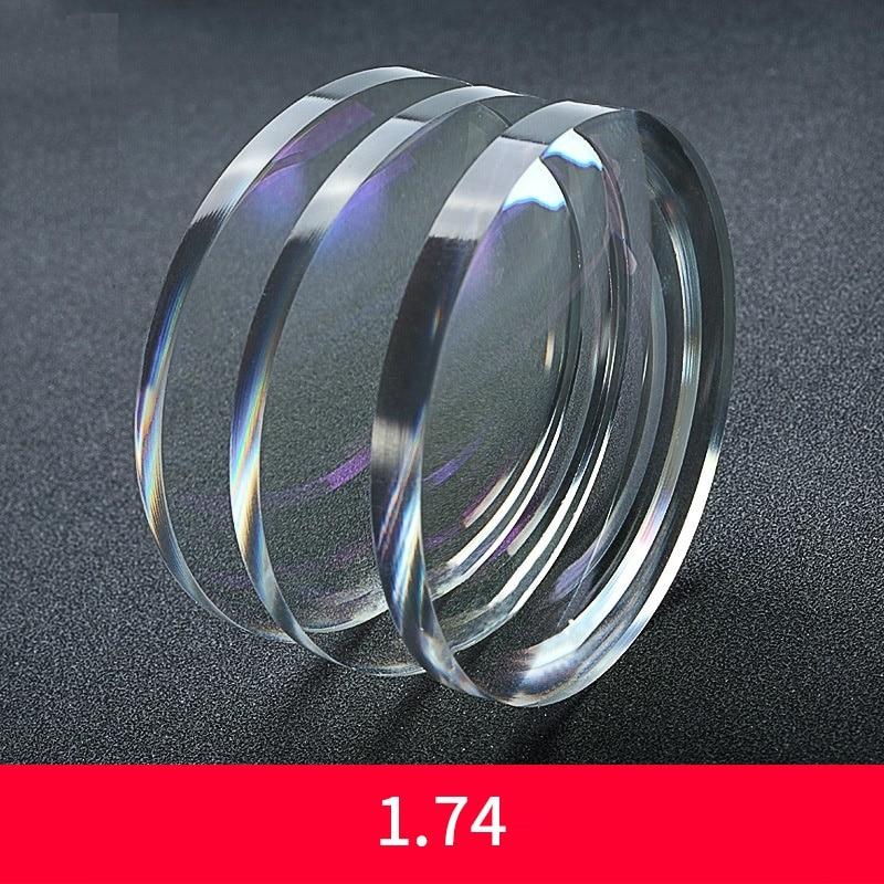 Lentilles de verres en résine à indice asphérique Ultra mince 1.74 revêtement oléophobe anti-rayures Prescription Anti-éblouissement UV