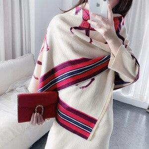 Image 4 - Mode Winter Schal Frauen Kaschmir Warme Pashmina Foulard Dame Luxus Pferd Schals Dicke Weiche Bufanda Schals Wraps 2020 Neue