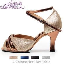 재즈 살사 볼룸 라틴 탄 보라색 댄스 신발 춤 여성 플러스 크기 발 뒤꿈치 여성 폴 블랙 여름 여성 샌들 6117