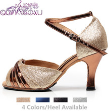 Zapatos de salón de Salsa de Jazz para mujer, calzado de baile latino de color morado, tacones de talla grande, Pole Black, sandalias para mujer 6117