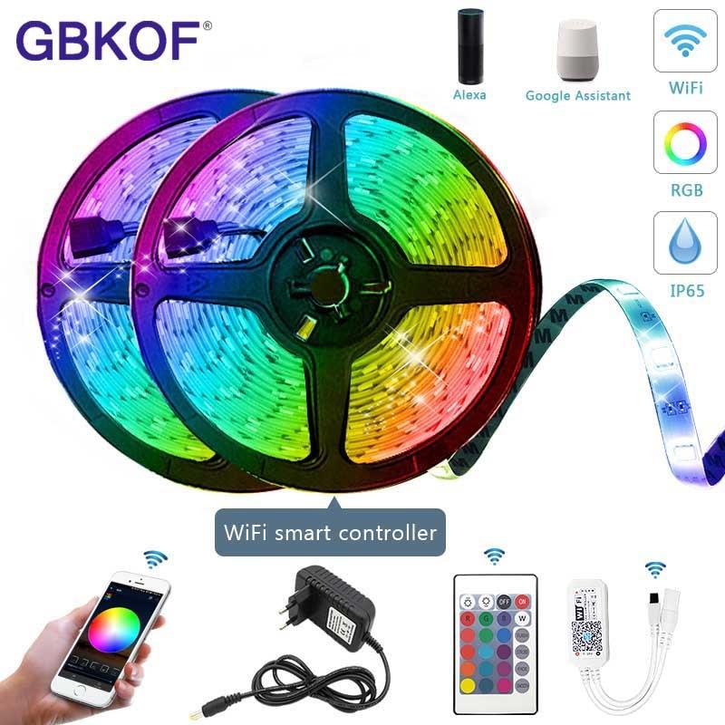Magic WiFi Contoller LED Strip Light RGB Waterproof SMD 5050 2835 DC12V 5M 10M RGB String Diode Flexible Ribbonr LED Light Wifi