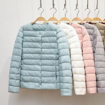 2020 New Winter Women Down Coat Ultralight Collarless Duck Down Jacket Portable Female Padded Parkas O-Neck Puffer Overcoat 1
