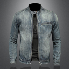 2021 Spring and Autumn New High Quality Men's Solid Color Stand-up Collar Zipper Slim Retro Long Sleeves Jeans Jacket